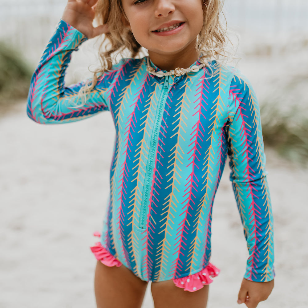 Teal Stripe Zip Rash Guard Swimsuit