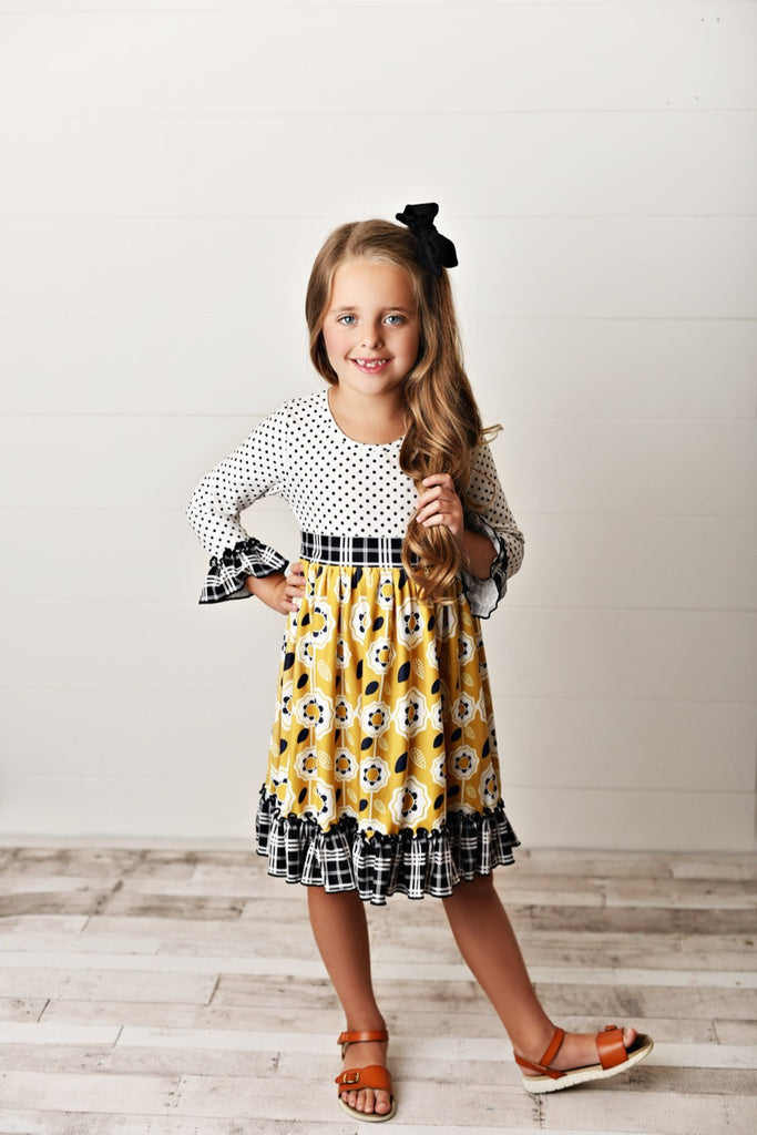 Mustard twirl girls dress