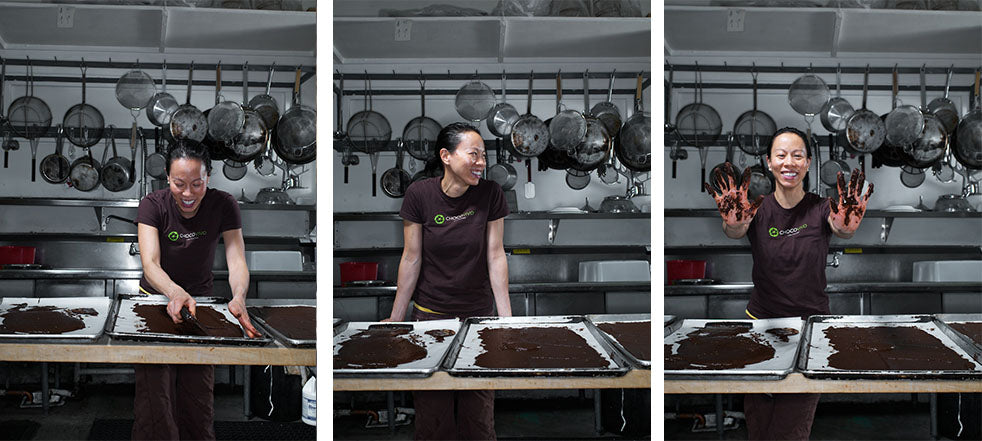 Patricia Tsai happily creating bean to bar chocolate in kitchen of Culver City Chocolate factory and cafe