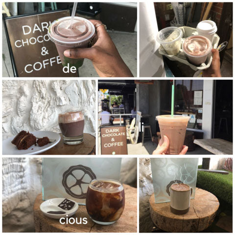 Tiled mosaic of several photos with cups of chocolate drinks