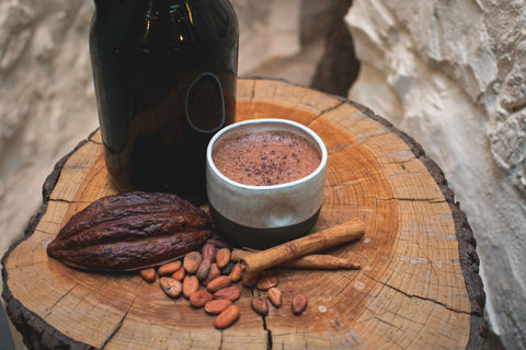 Cacao pod, cacao beans, Mayan Hot Chocolate, at our chocolate cafe in Culver City