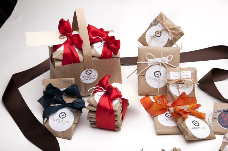 Gift wrapped packages of bean to bar chocolate