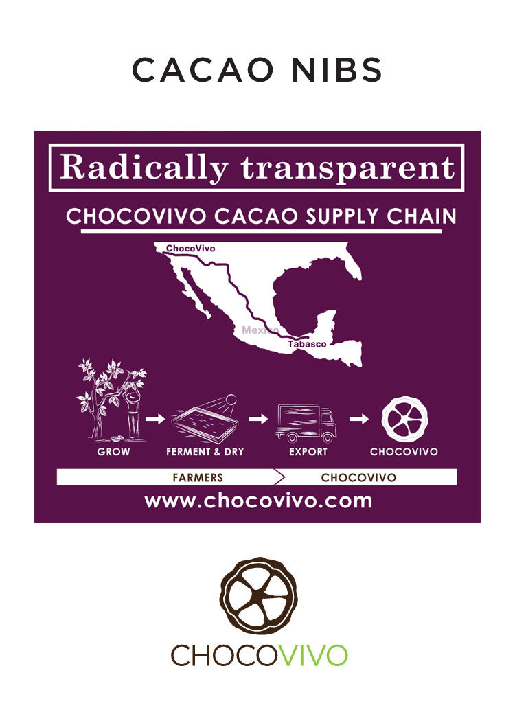 Back of bag of organic Cacao Nibs from our fair trade cacao grower