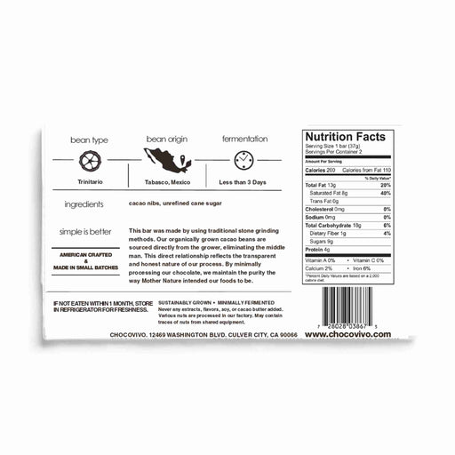 Ingredients and Nutrition facts - ChocoVivo