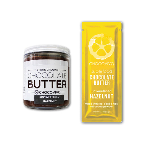 Chocolate Hazelnut Butter (Unsweetened) Jars & Packets