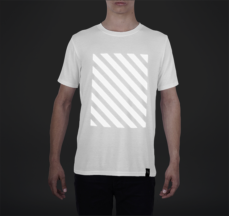 Mens Crew Tee, Striped Overlay