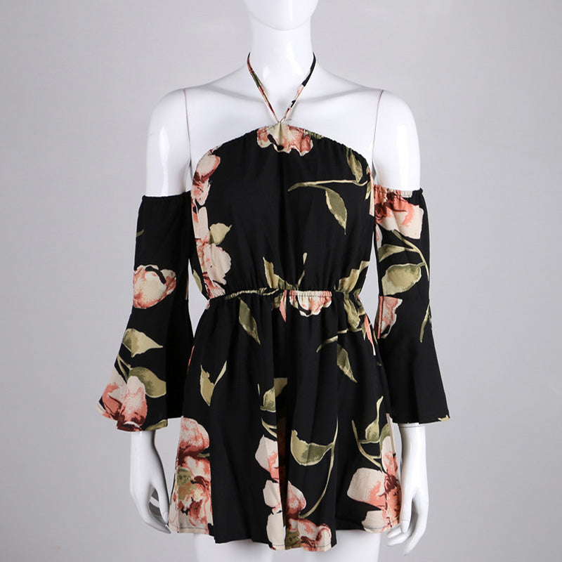 Floral Printed Off-The-Shoulder Romper - Modern Appeal