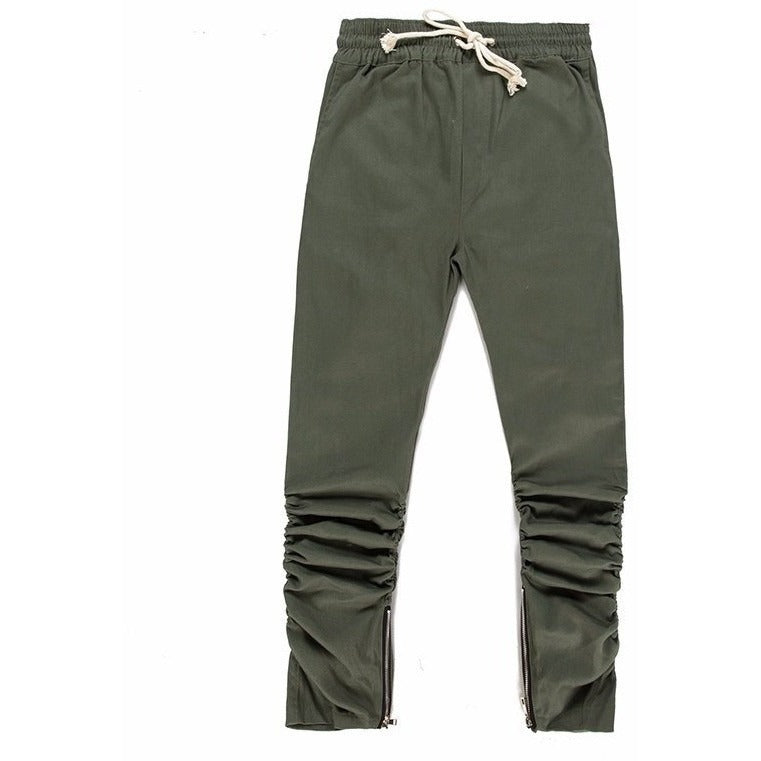 Bottom - High Fashion Zip Joggers - Green