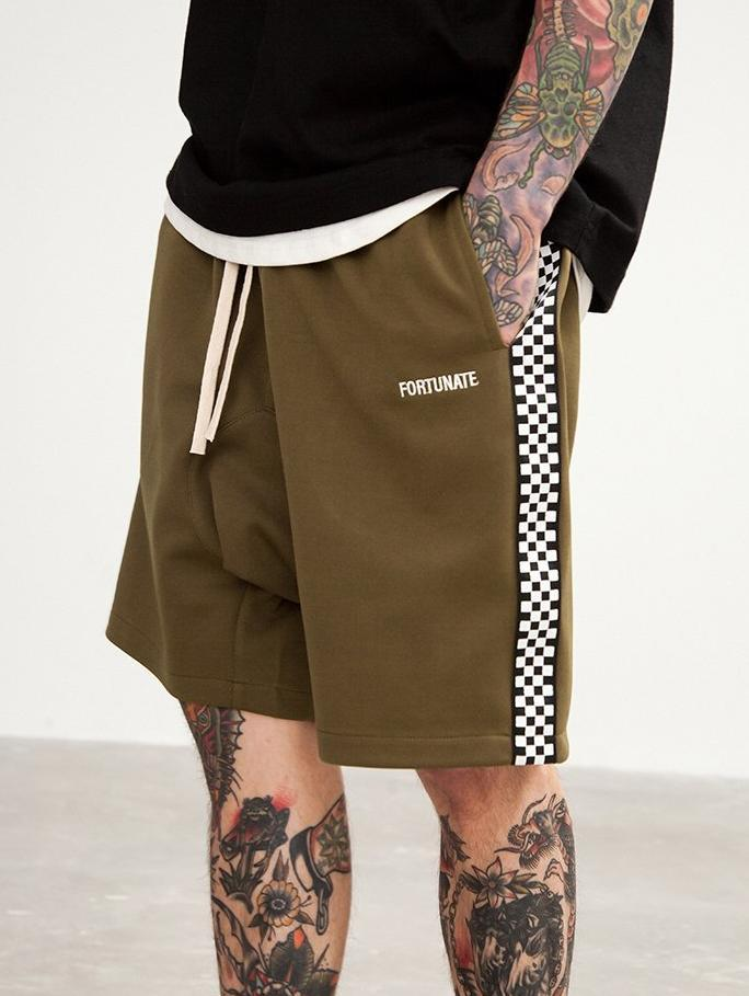 Checks Sweat Shorts - Army Green - Modern Appeal
