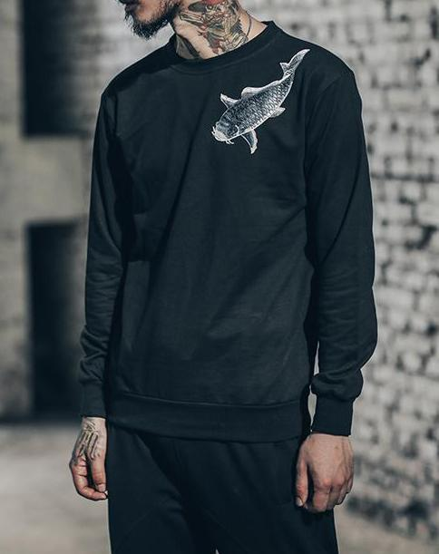Hoodies & Sweatshirts - Yang Embroidered Crewneck  - Black