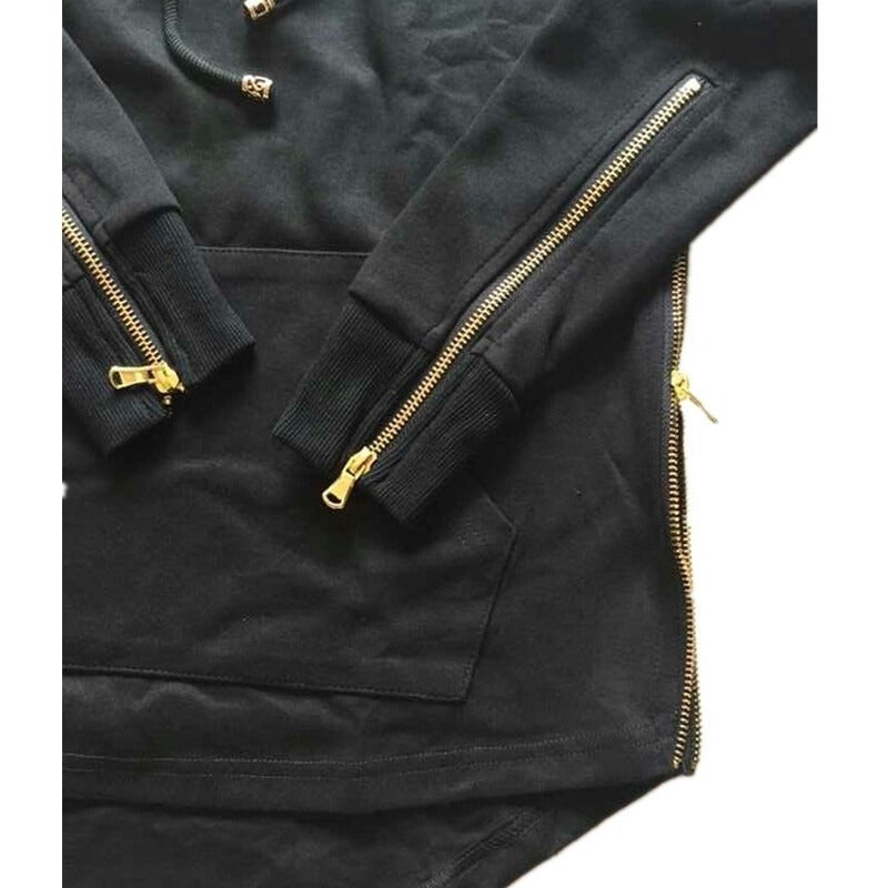 Hooded Side Zipper Jacket - Black - Modern Appeal