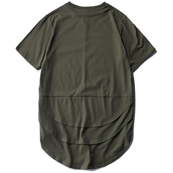 T Shirt - Layered Extended Tee - Sage Green