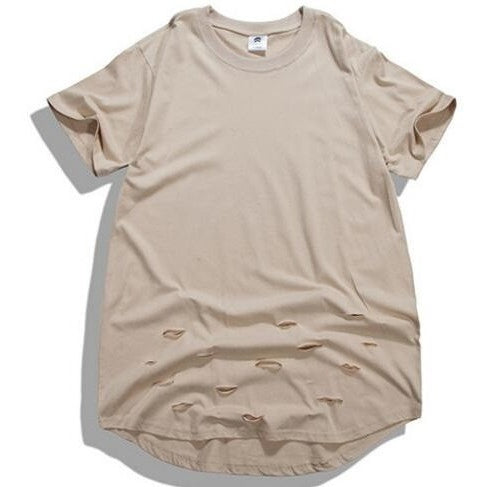 T Shirt - Ripped Extended Tee - Beige