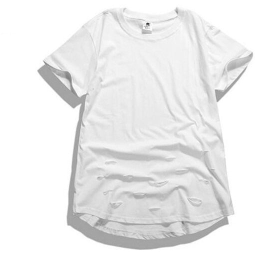 T Shirt - Ripped Extended Tee - White