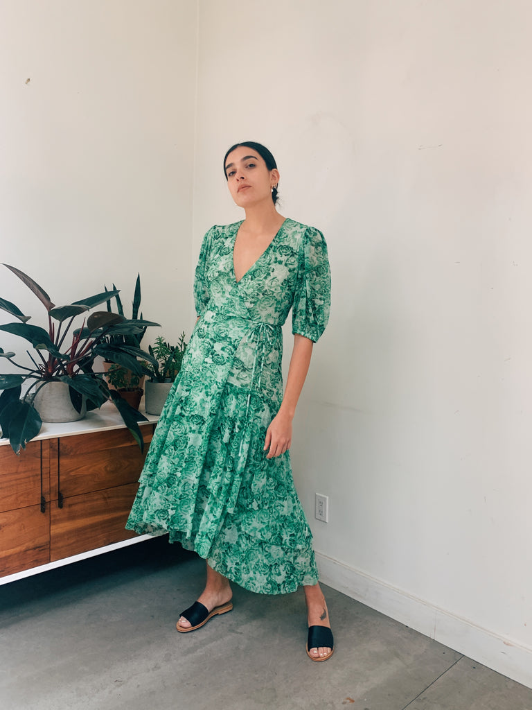Printed Mesh Dress in Island Green
