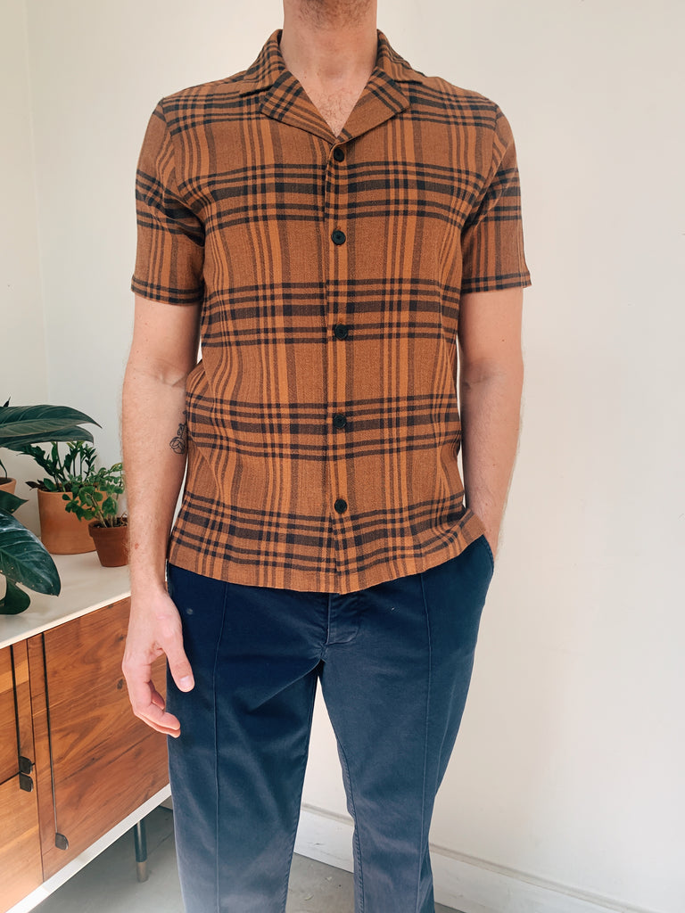 Folk Teak Overdyed Crepe Check Shirt