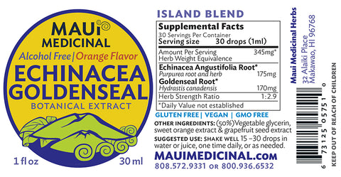 "Echinacea Goldenseal Orange ""ISLAND BLEND"" Alcohol free concentrate"