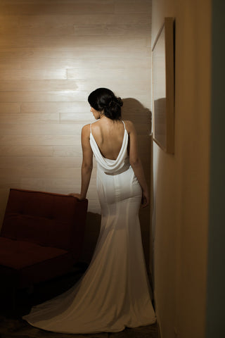 Cowl Back Wedding Dress-BOHEMIAN