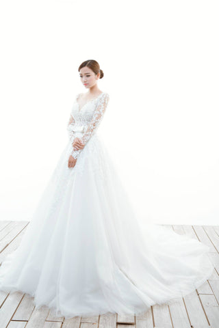 Long Sleeve A-Line Wedding Dress-GISELA