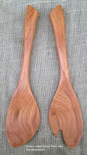 Salad Server set handmade in Hickory wood Sassafras leaf design