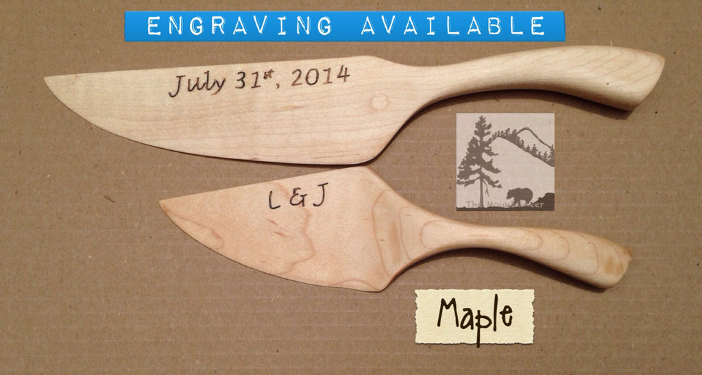 Maple Wedding Cake Cutter Server Rustic Chic Barn Farm Country West Mountaineer Store