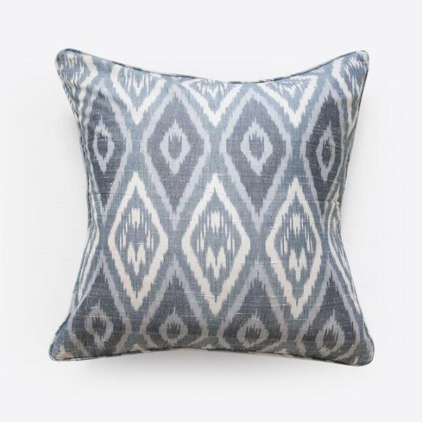 Ikat Mixed Blue Silk Cushion