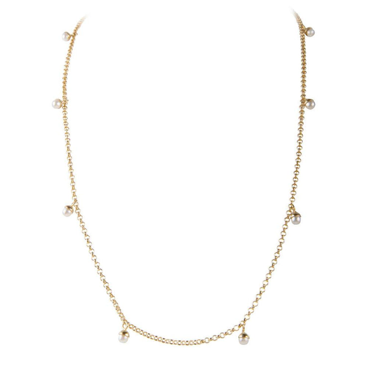 Pearl Pom Necklace Gold