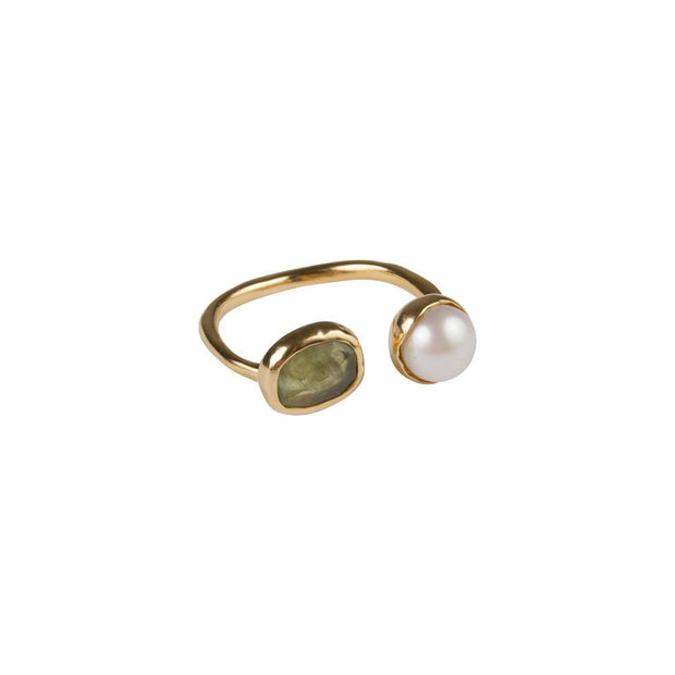 Pearl & Green Sapphire Ring
