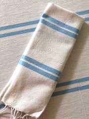 Stripe Woven Table Cloth - Sky Blue