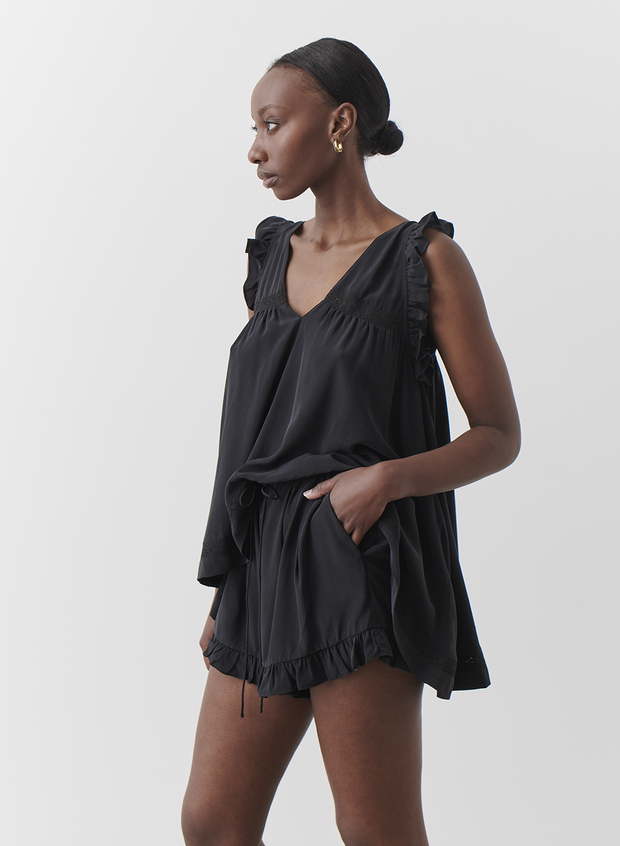 Gracie Silk Trapeze Top Sandwash Black