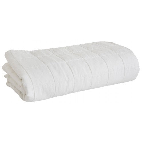 Quilted Linen Bedcover White 240 x 260cm King