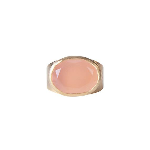 Pink Chalcedony Cocktail Ring Size 8