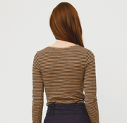 Morri Wool Stripe Scoop Neck Latte/Choc