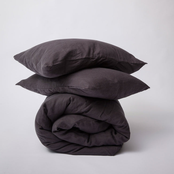 Linen Duvet Set Black