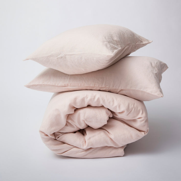 Linen Duvet Set Blush Pink