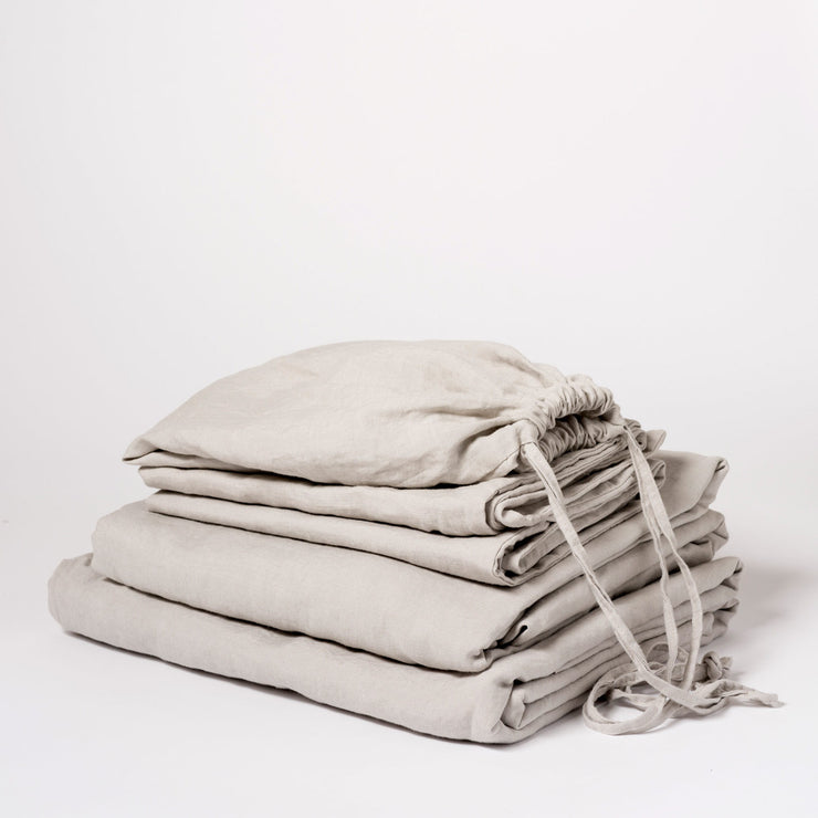 Linen Sheet Set Smoke Grey