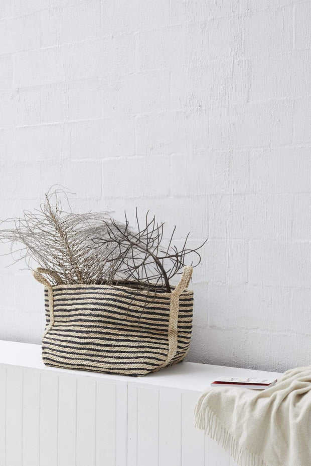 Large Jute Basket Charcoal Stripe