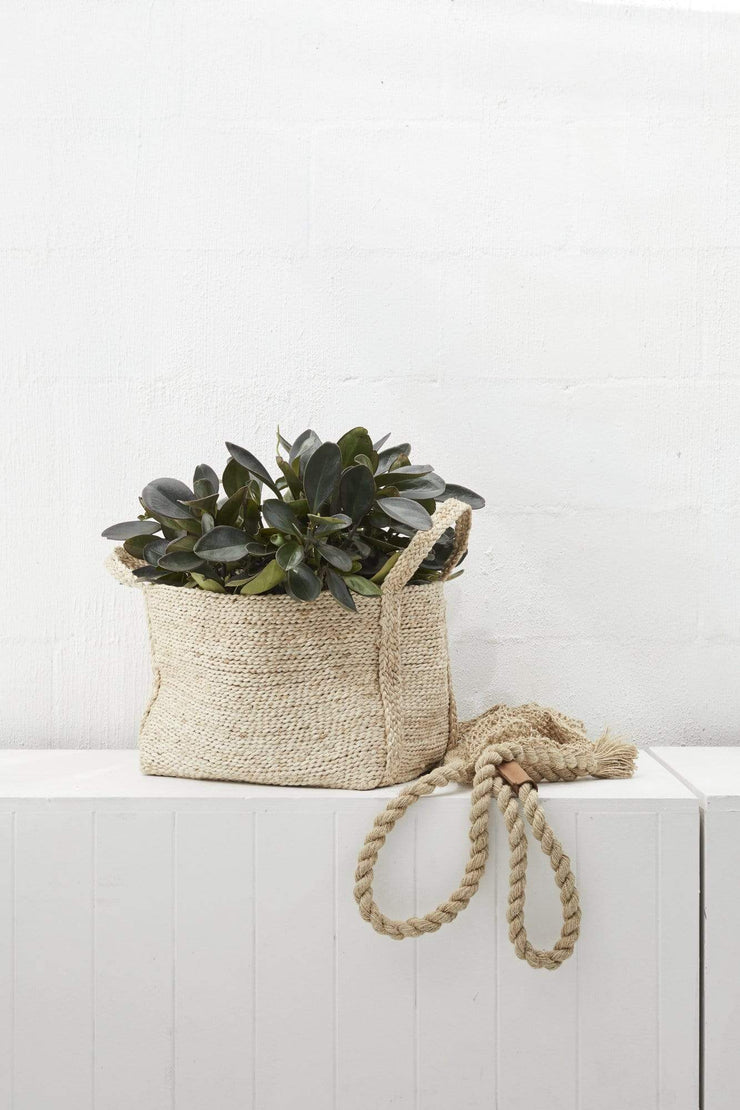 Small Rectangle Jute Basket Natural