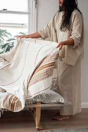 Hand Woven Throw Natural/Clay
