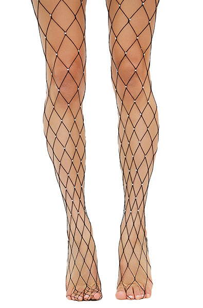 Rhinestone Diamond Fish Net Tights in Black