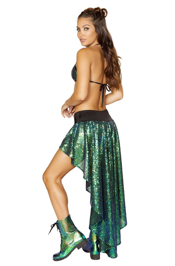 Sequin Shorts with Attached Open Front Skirt in Green