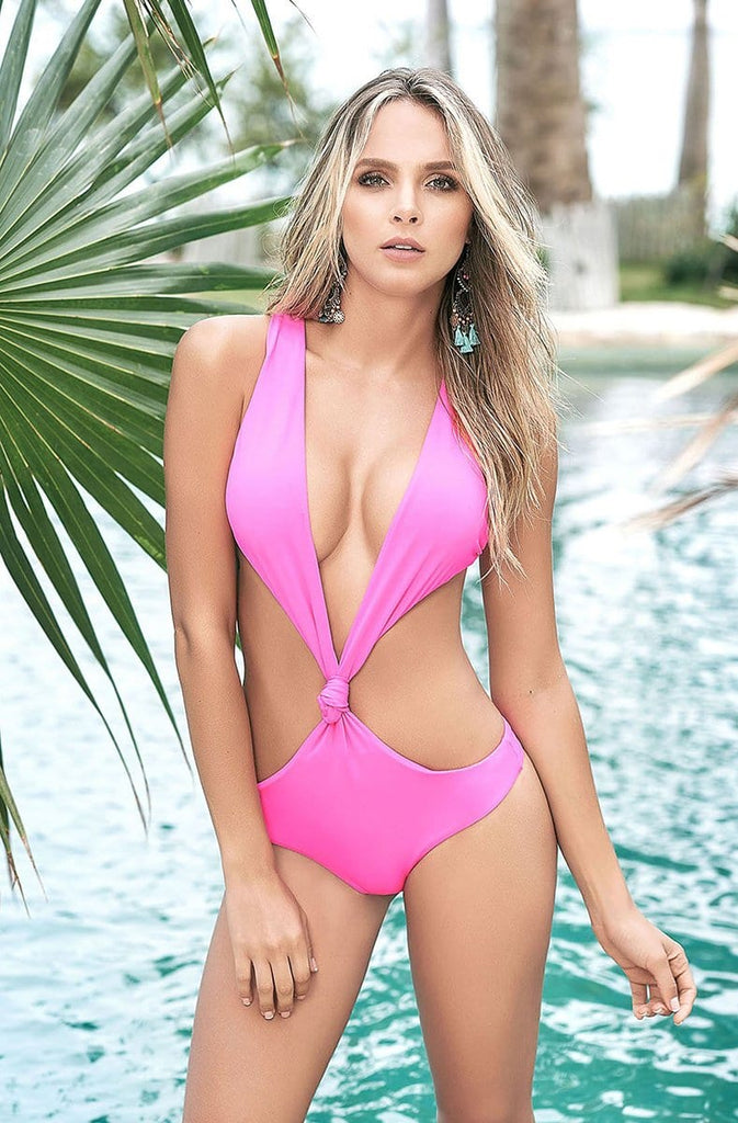Monokini Thong Swim Suit in Hot Pink