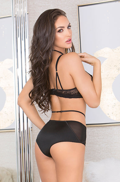 Open Lace Cup Bra and Panty Set