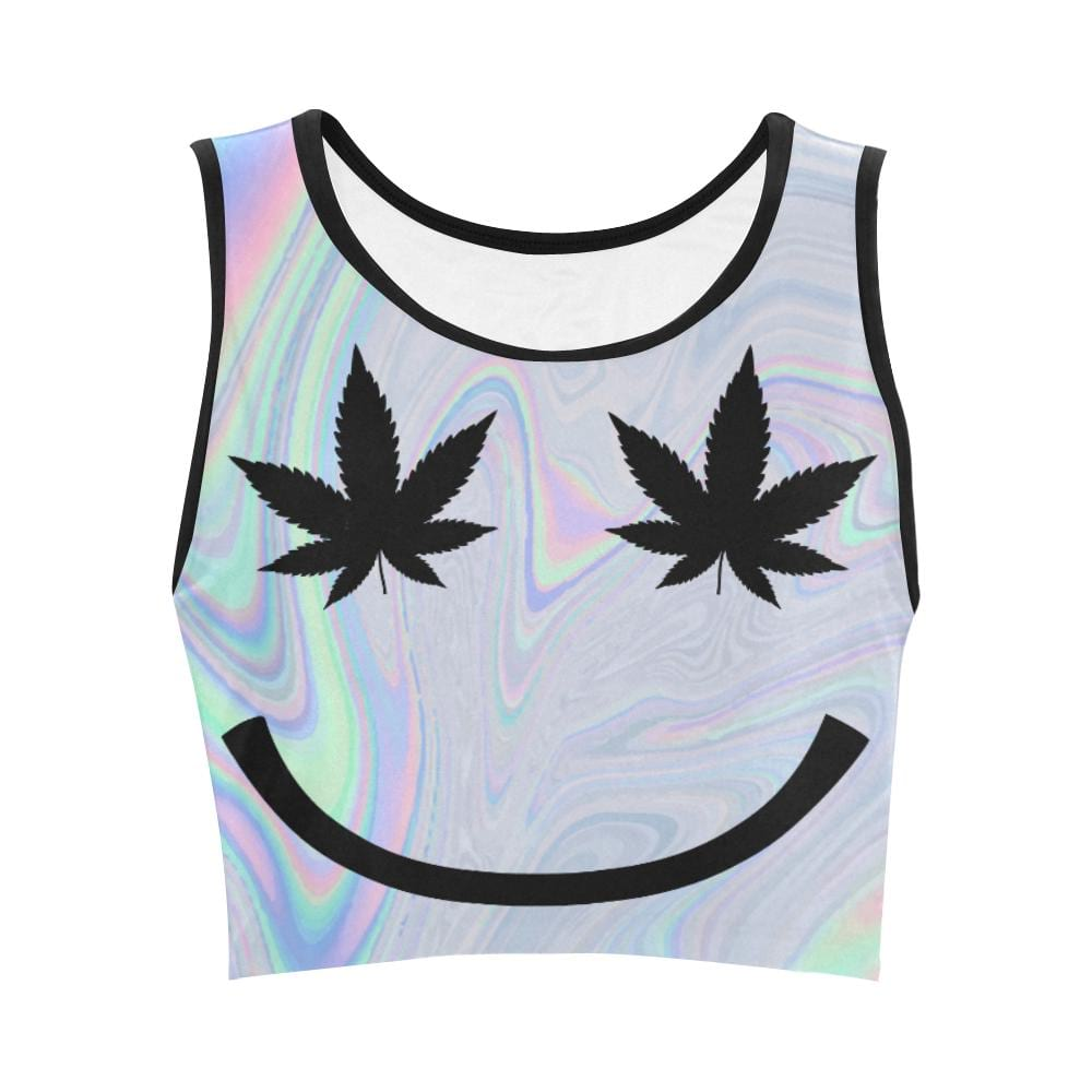 Weed Happy Face Crop Top
