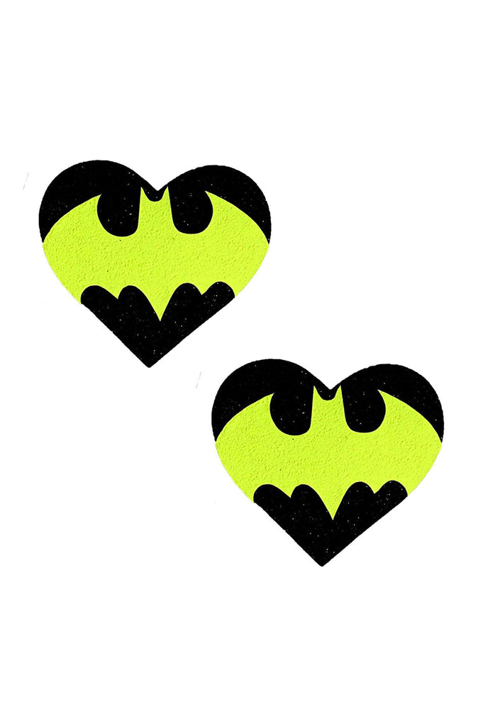 Blacklight Bat Black Glitter I Heart U Pasties
