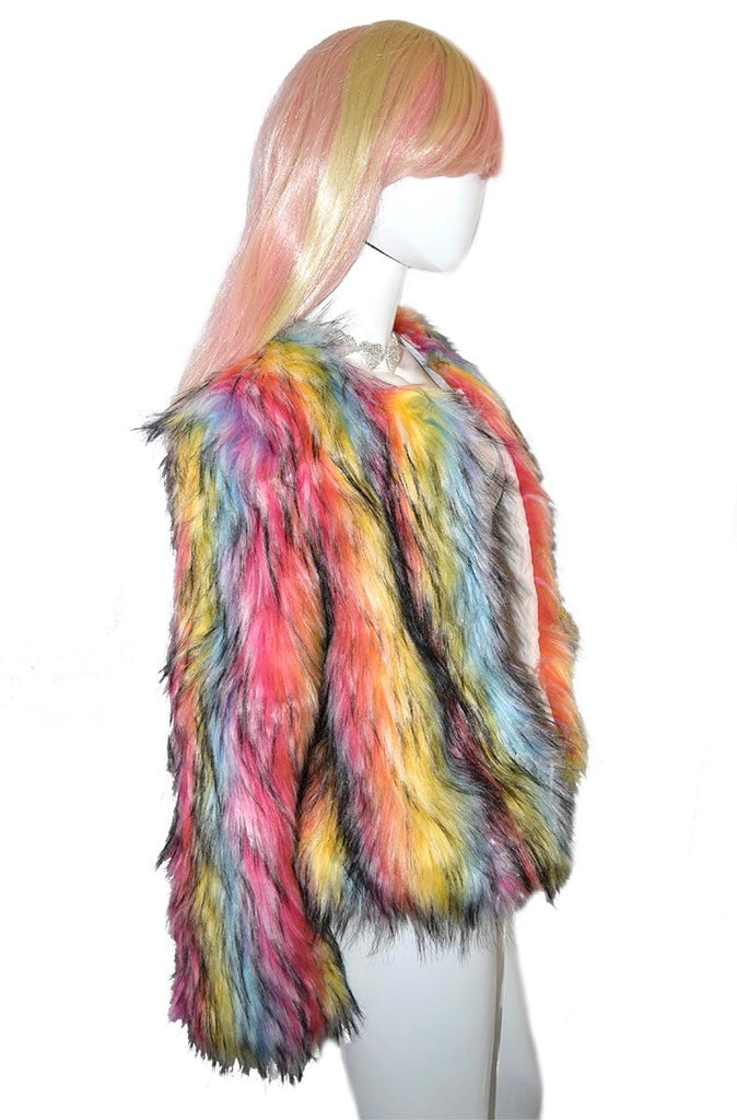 Rainbow Faux Fur Jacket