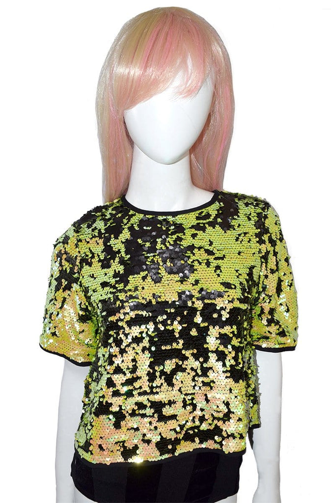 Flip Sequin Tee in Acid Yellow