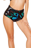 Flip Sequin High Waisted Mermaid Shorts in Black/Blue