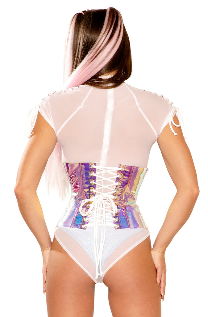 Vinyl Waist Cincher in Pink Ice