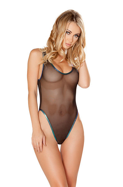 Mesh Shimmer Body Suit in Black